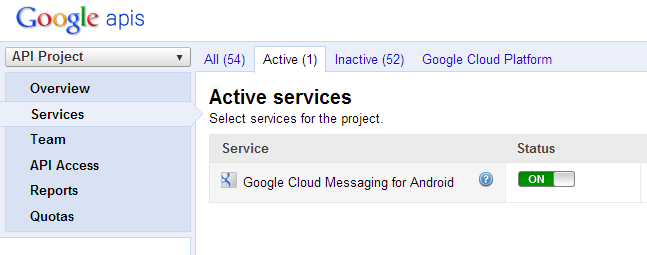 Google APIs active services