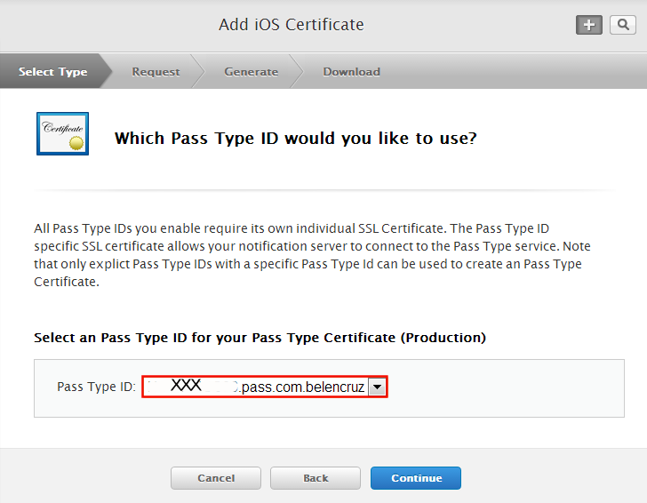 iOS certificate of the Pass ID