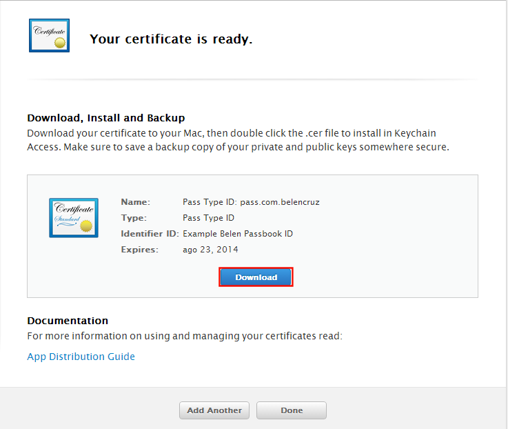 Download Pass certificate