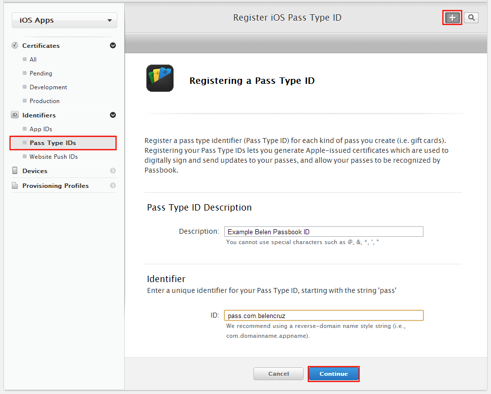 Register iOS Pass Type ID