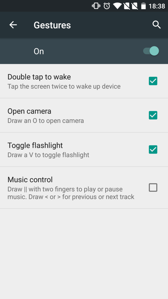 OnePlus2 gesture settings